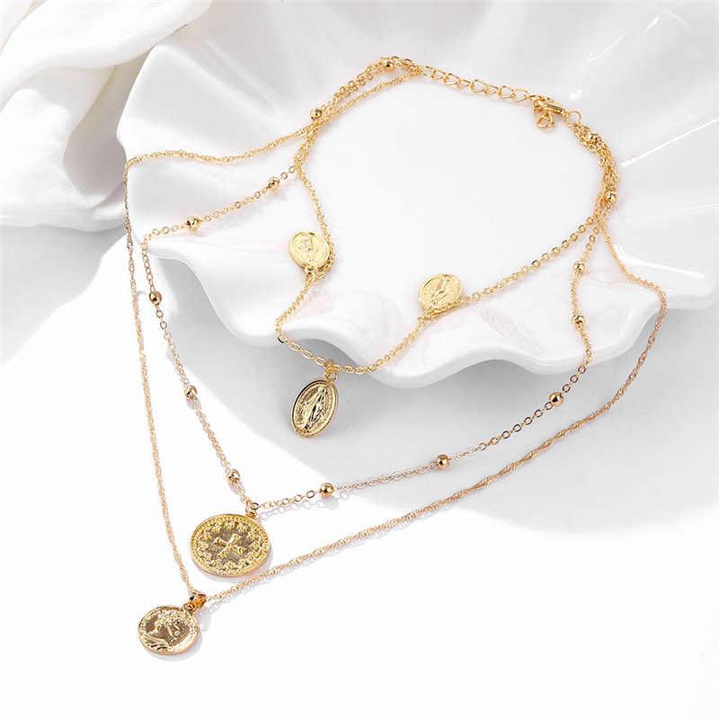 אופנה נשים זהב עגול מטבע דיוקן שרשרת רב שכבתי עיצוב צלב מרים בתול תליון ארוך שרשרת שרשרת Boho תכשיטים