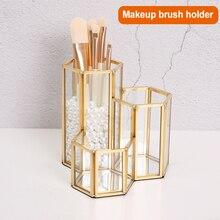 Altın cam makyaj organizatör makyaj fırçası tutucu organizatör 3 boru bakır Vintage el yapımı kalem kozmetik aksesuarları kutusu FB