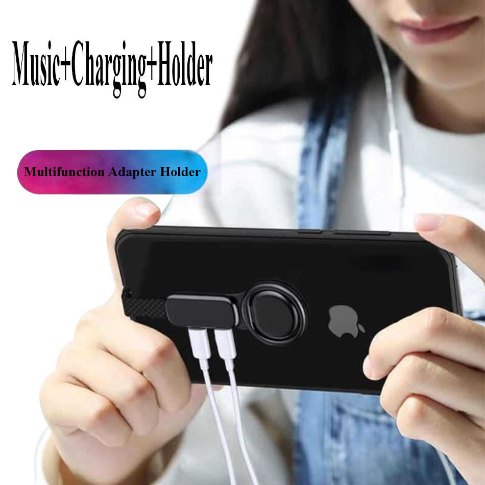 Portable 3 In 1 Pengisian 3.5Mm Musik Audio Adapter OTG 2A Charger Mobile Phone Ring Holder untuk iPhone Lightning IOS