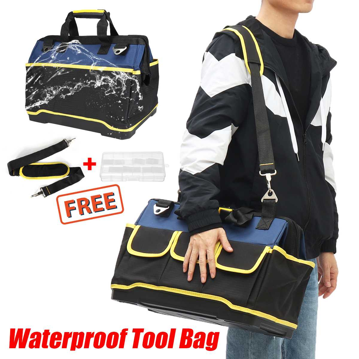 Waterproof Tool Bag Electrician Tools Carpentry Hardware Repair Portable Storage Organizers Box Work Spanner Toolbox Kitbag
