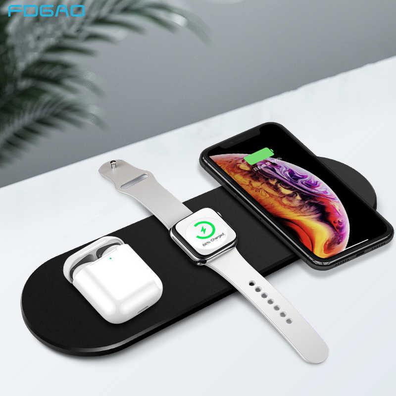 FDGAO 15W 3 ב 1 צ 'י אלחוטי מטען עבור Airpods פרו אפל שעון 5 4 3 2 iWatch מהיר טעינה אלחוטי Pad עבור iPhone 11 XS XR X