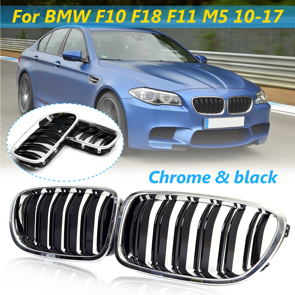 Pair Chrome+Black Front Kidney Grilles For BMW F10 F18 F11 M5 2010 2011 2012 2013 2014 2015 2016 2017 Car Racing Grills