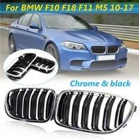 Par Chrome + Preto Frente Grilles Renais Para BMW F10 F18 F11 M5 2010 2011 2012 2013 2014 2015 2016 2017 Carro de Corrida Grills|Grades de corrida| |  -