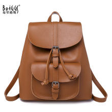 BRIGGS New Women PU Leather Backpack Large School Backpacks For Teenage Girl Lady Travel Bag Fashion Rucksack Mochila Feminina brand preppy style kanken school backpacks rucksack women leather backpack lady travel bag mochila feminina