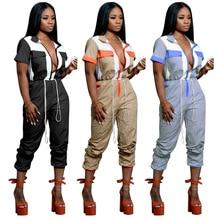 New Fashion Women Sexy patchwork Jumpsuit Short Sleeve High Waist Jumpsuit Street Wear Drawstring Jumpsiut Romper Long Trousers