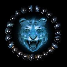 Männer Armband Natürliche Blue Tiger Auge Stein Armbänder Männer Fashion Classic Stretch Armreif Für Homme Hämatit Perle Armbanden Schmuck