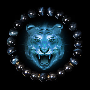 Men Bracelet Natural Blue Tiger Eye Stone Bracelets Men Fashion Classic Stretch Bangle For Homme Hematite Bead Armbanden Jewelry(China)