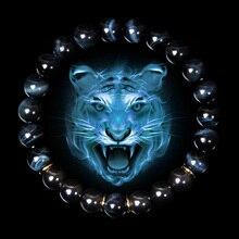 Pulsera de piedra de ojo de tigre azul Natural para hombre, pulsera elástica clásica de moda para hombre, brazalete de cuentas de hematita, joyería
