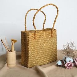 Women's Handbag Creative Rattan Tote Bag New Straw Bag Sen Female Titan Bags Travel Holiday Round Woven Handbag Sac A Main