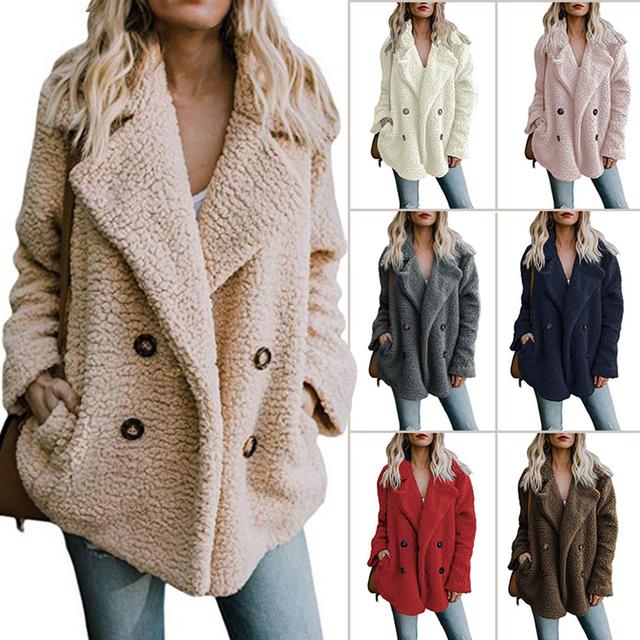 Plus Size Women Faux Fur Coat Autumn Winter Fashion Thick Warm Soft Fleece Jacket Female Overcoat Pocket Zipper Teddy Outwear