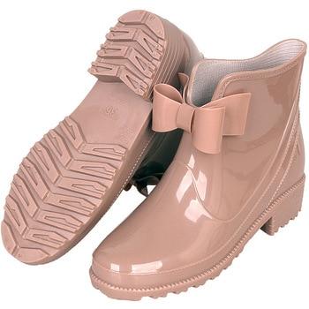 цена на New Rubber Boots for Women PVC Ankle Rain Boots Waterproof Trendy Jelly Women Boot Elastic Band Rainy Shoes Woman wed4