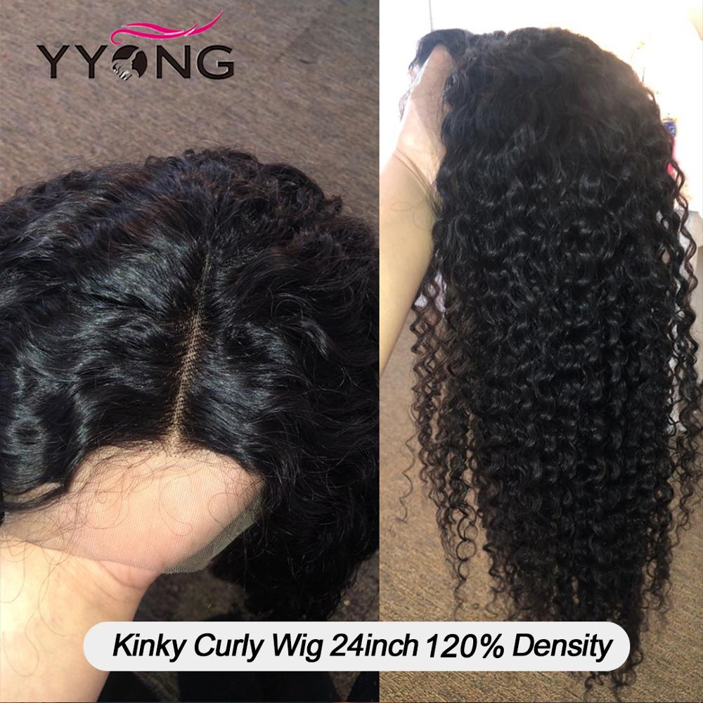 YYong 4x4  Kinky Curly Lace Closure Wigs 30 32inch 1X6 Topline Pre-Pluck With Baby Hair  HD Lace Wig 120 4