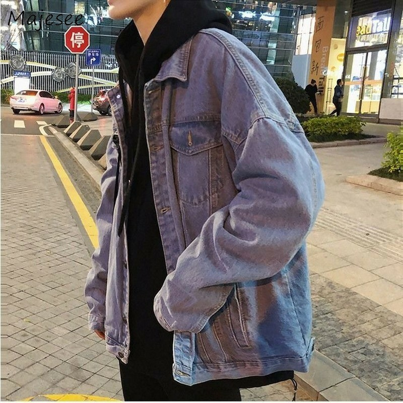 Jacket Men Denim Vintage Blue Loose Plus Size 2XL Streetwear Daily Harajuku Mens Coat Classic All-match Causal Korean Ulzzang
