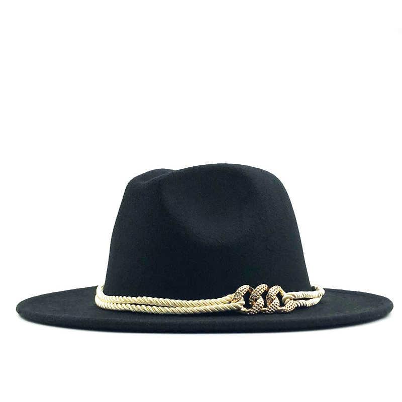 Hitam Wol Merasa Jazz Fedora Topi Sabuk Gesper Dekorasi Wanita Unisex Topi Panama Trilby Topi Koboi Sunhat