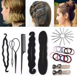 Women Hair Accesories Hairstyle Clip Styling Tools Elastic Hair Bands Bun Maker Braid Curler Twist Tool Hairpins DIY Hair Clips