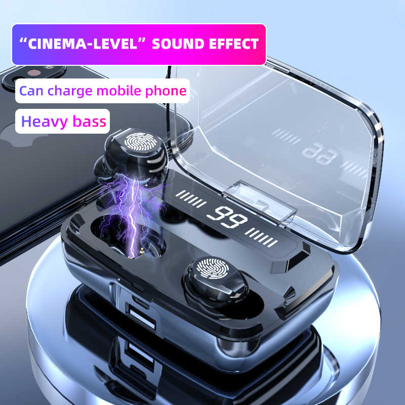 M11 Headphone Nirkabel TWS Bluetooth 5.0 Earphone 3300Mah HI FI IPX7 Tahan Air Speaker Mini Touch Kontrol Headset untuk Olahraga/Permainan
