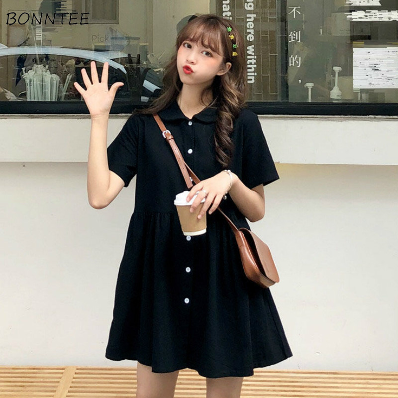 Dress Women A-line Large Size Short Sleeve Retro Kawaii Ulzzang Loose Leisure Daily Student Maxi Holiday Girl Simple Summer Chic