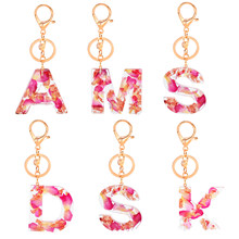 Letter Pendant Keychains Resin Key Chains Rings For Women Cute Car Acrylic Glitter Keyring Holder Charm Bag Couple Bag Gifts