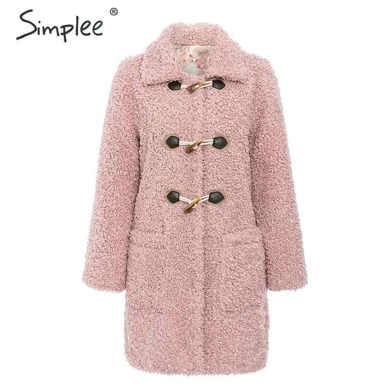 Simplee Теплое зимнее щуба пальто из искусственного меха для женщин Розовыйщуба  женский повседневная осенняя верхняя одежда из ягненка 2019