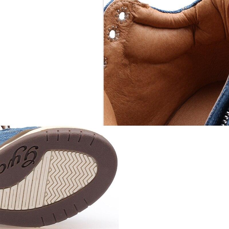 Big Size Women Denim Wedges Sneakers Autumn Platform Casual Shoes Fashion Woman Side Zipper Vulcanized Shoe Thick Bottom Sneaker 5
