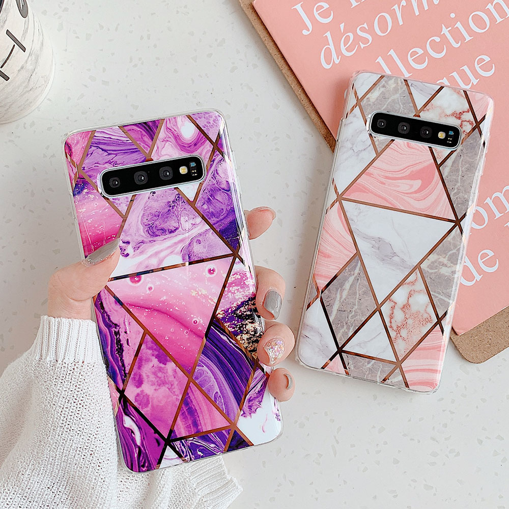 Geometric Marble Phone Case For Samsung Galaxy A50 S8 S9 S10 Plus S10E A40 Note 10