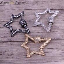 3 pces, estrela jóias fechos bloqueio mosquetão micro pave cz cobre conector fecho para colar jóias fazendo