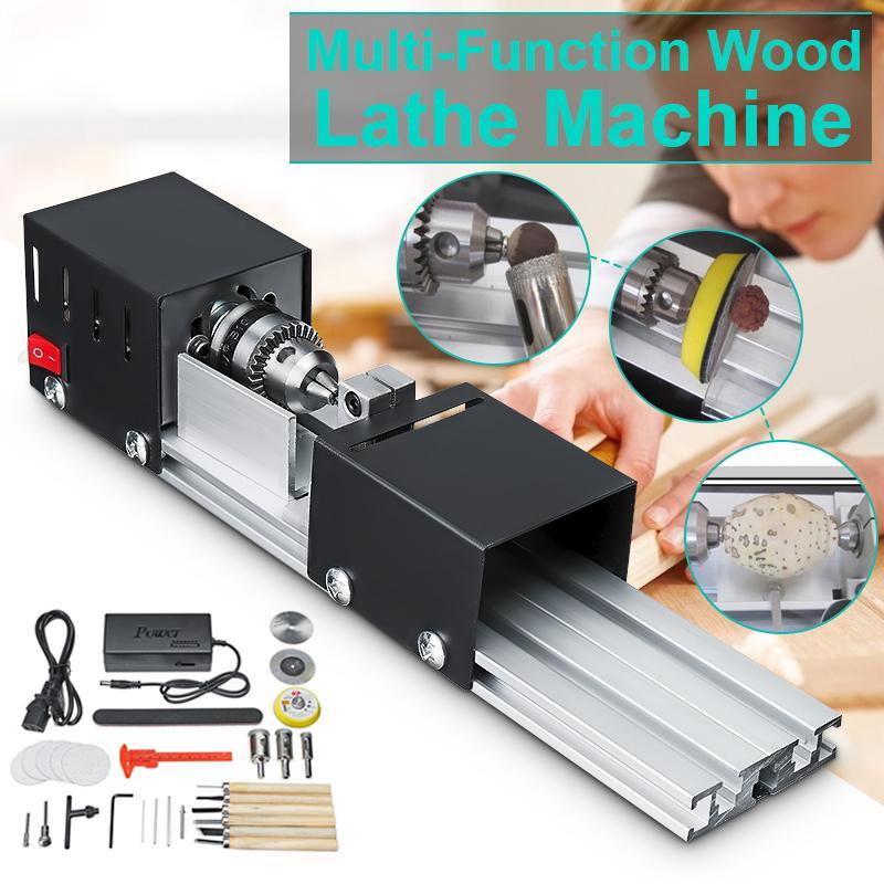 200W CNC Mini Lathe Machine Tool torno DIY Woodworking Wood lathe Milling machine Grinding Polishing Beads Drill Rotary Tool Set-in Lathe from Tools