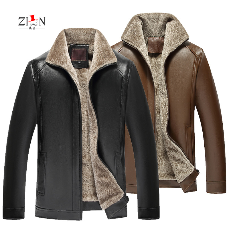 Autumn And Winter Middle-aged Leather Coat Men's Pu Fur Men's Brushed And Thick MEN'S Leather Coat Business Leather Jacket MEN'S