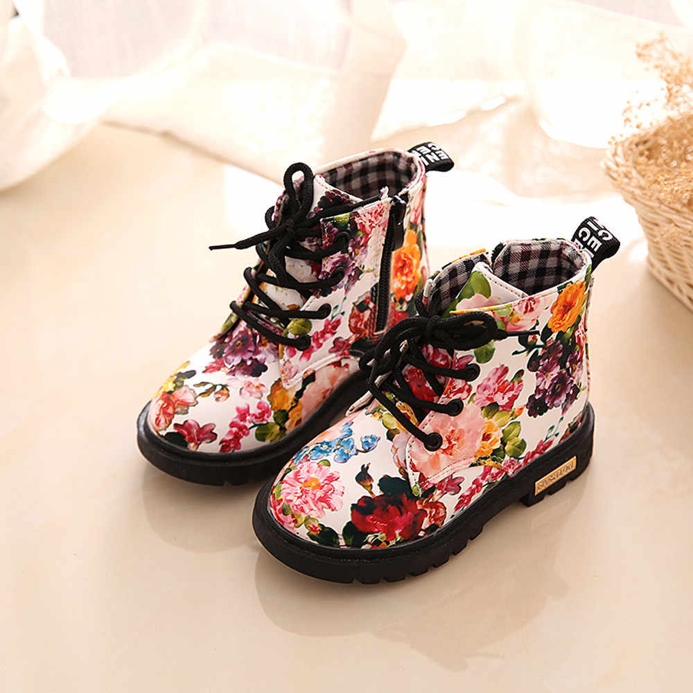 Kids Baby Girls boots 2019 Fashion Floral Kids Shoes Baby Boots Casual Children Boots Autumn and winter plus velvet Martin boots