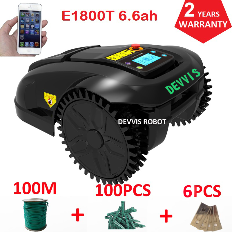 6th Generation Newest DEVVIS Robotic Mower Robot Lawn Mower E1800T With Range Funtion,Auto Recharged,Remote Control,Waterproof