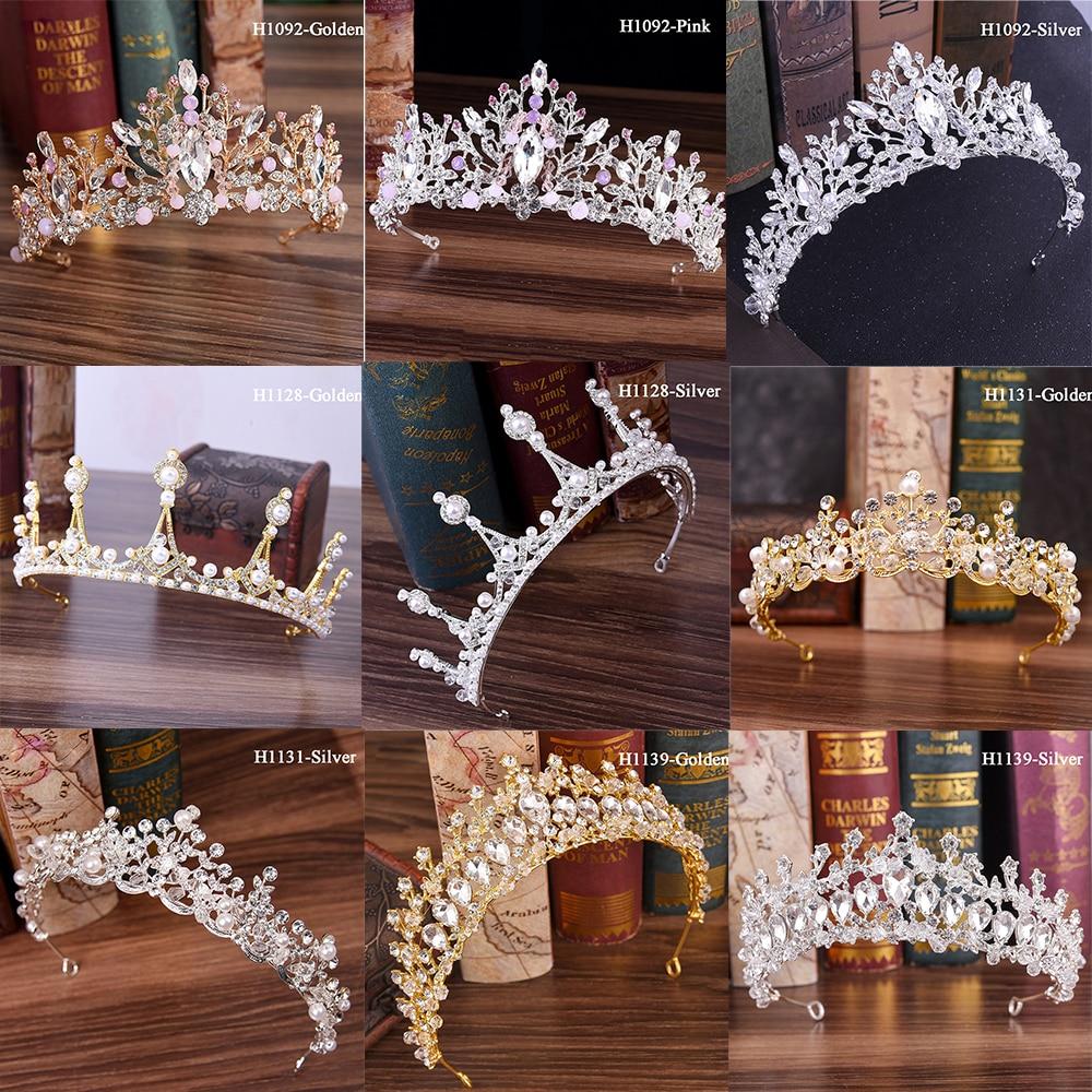 Traugel Luxury Gold Crystal Bridal Crown Tiaras Fashion Queen For Women Wedding Crown Headpiece Wedding Hair Jewelry Accessories