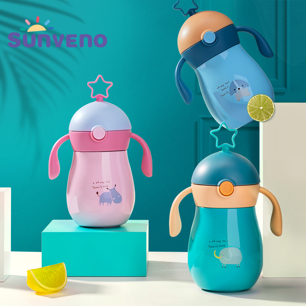 Sunveno 260ml Cartoon Baby Thermos Cup  Children Cup  Soft Spout Straw Sippy Cup Gravity Ball Water Cup Water Bottle