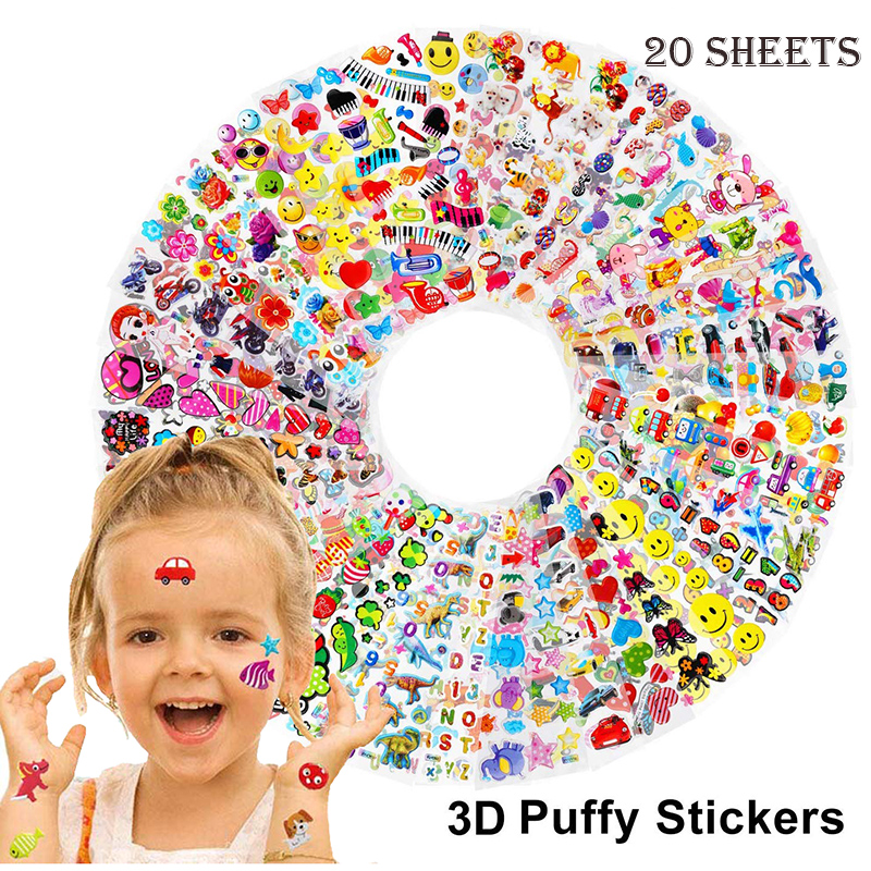 20 Diffetent Sheets 3D Bubble Puffy Stickers For Girls Boys Cartoon Princess Sticker Waterproof PVC DIY Toys Kids Children Gifts