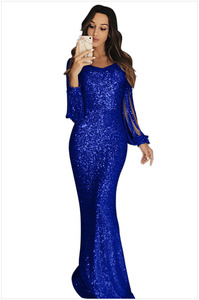 Image 3 - Sexy V neck Floor length Trumpet Black Blue Pink Silver Gold Mermaid Long Fishtail Cocktail Dresses Autumn Cocktail Dress