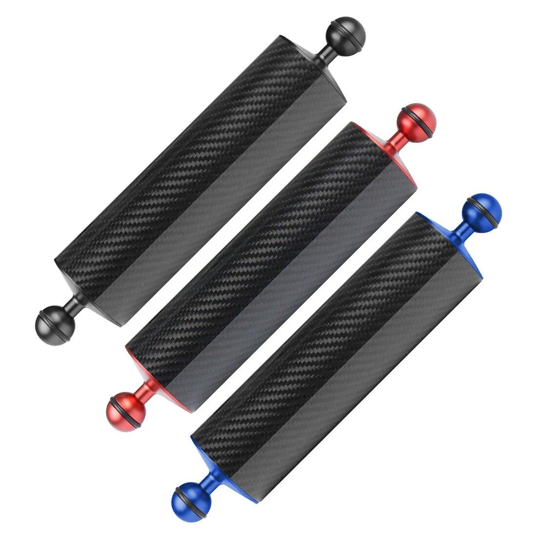 Fibra de carbono flutuabilidade flutuador braço bola dupla flutuante braço câmera mergulho bandeja para dji osmo para gopro/xiaoyi/eken câmeras esportivas
