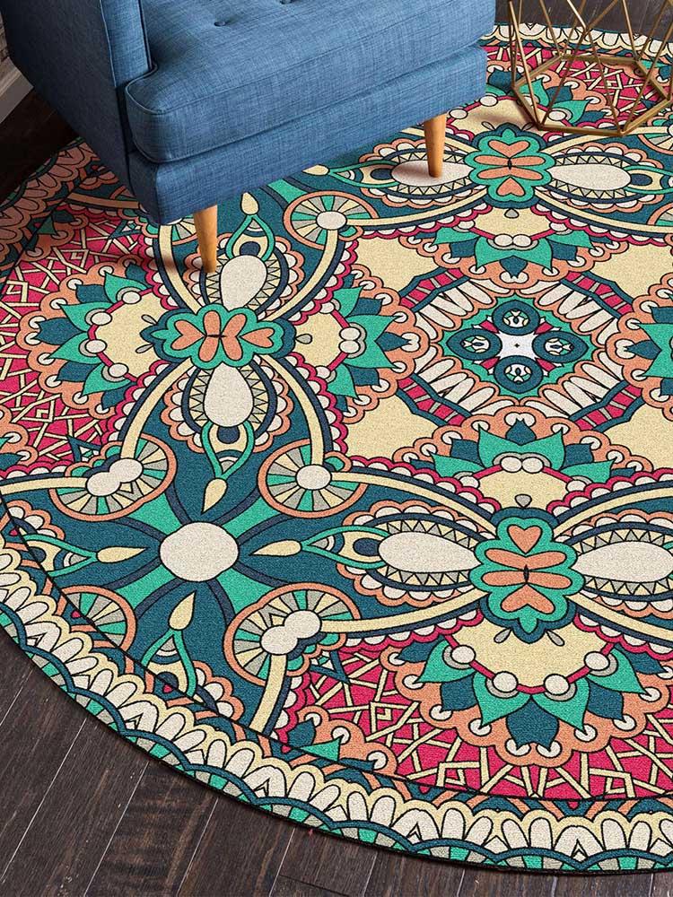 tapis rond mandala pour salon et chambre a coucher en flanelle tapis de sol vert imprime