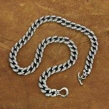 LINSION 925 Sterling Silver Auspicious Clouds Chain Mens Biker Punk Necklace TA155