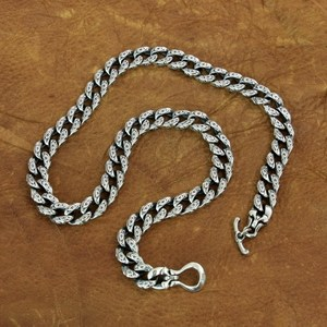 Image 1 - LINSION 925 srebro pomyślny chmury łańcuch mężczyzna Biker Punk naszyjnik TA155