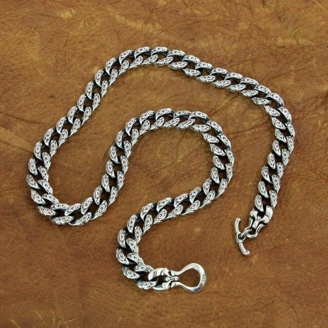 LINSION 925 srebro pomyślny chmury łańcuch mężczyzna Biker Punk naszyjnik TA155