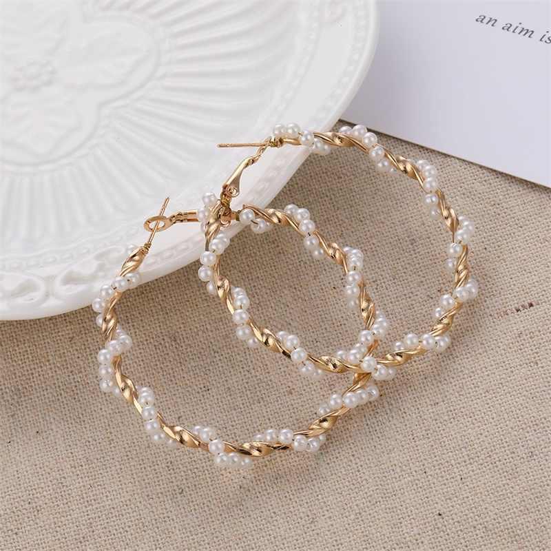 FNIO Big imitacja perły kolczyki 2019 dla kobiet Lover geometryczne złote okrągłe serce wypadnij zwisają kolczyk koreański komunikat biżuteria