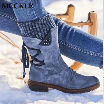MCCKLE 2020 kobiety zimowe buty ze skórki cielęcej stado zimowe buty damskie moda śniegowe buty zakolanówki Suede Warm Botas Woman tanie i dobre opinie Połowy łydki Pasuje prawda na wymiar weź swój normalny rozmiar Okrągły nosek Zima Stałe Plac heel Podstawowe RUBBER