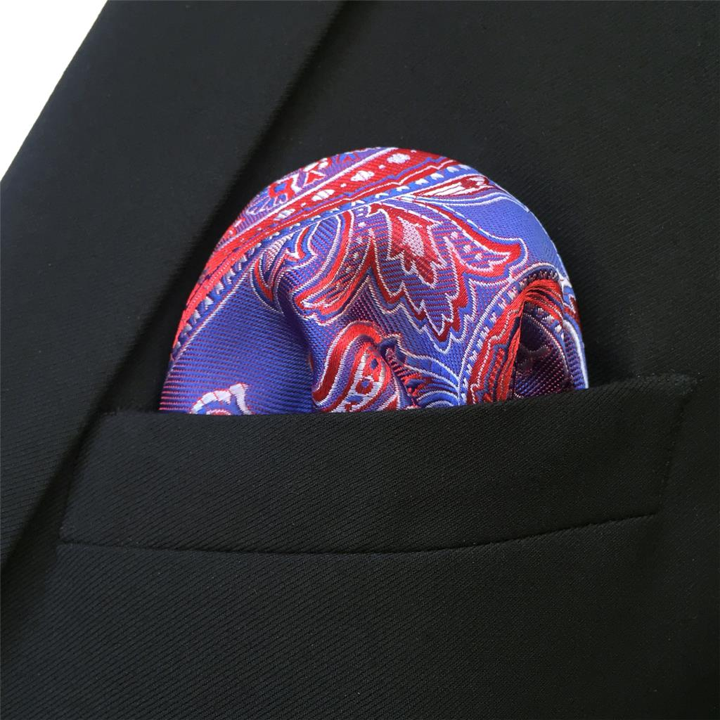 FH01 Blue Red Paisley Mens Pocket Square Wedding Handkerchief Silk in Men 39 s Ties amp Handkerchiefs from Apparel Accessories