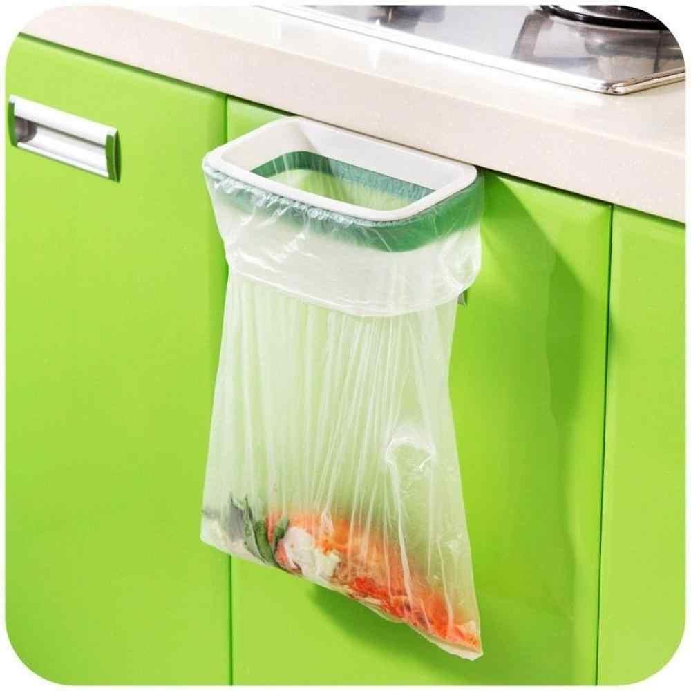 Plastic Door-back Garbage Trash Bag Bracket Rack Hanging Holder Kitchen Shelf