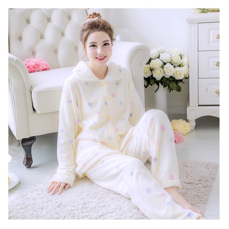 Winter Warm Pajamas Set Woman Cartoon Long Sleeve Sleepwear Leisure Flanel Nightie Dressing gowns for women