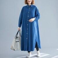Autumn Long Denim Shirt Dress Women 2019 New Long Sleeve Turn down Collar Button Side Split Loose Casual Jeans Long Maxi Dress