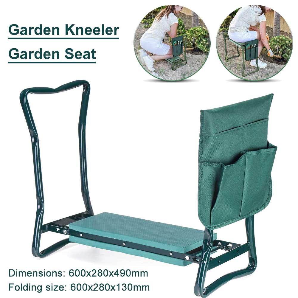 Handles Garden-Stool Folding with Stainless-Steel 150kg Kneeling-Pad Load EVA
