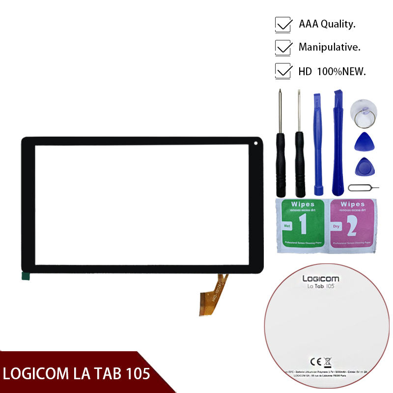 """100% Original New Touch Screen For 10.1"""" LOGICOM LA TAB 105 Tablet Touch Screen Panel Digitizer Glass Sensor Replacement"""