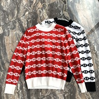 New female leisure color matching printing cashmere silk blended long sleeved sweater