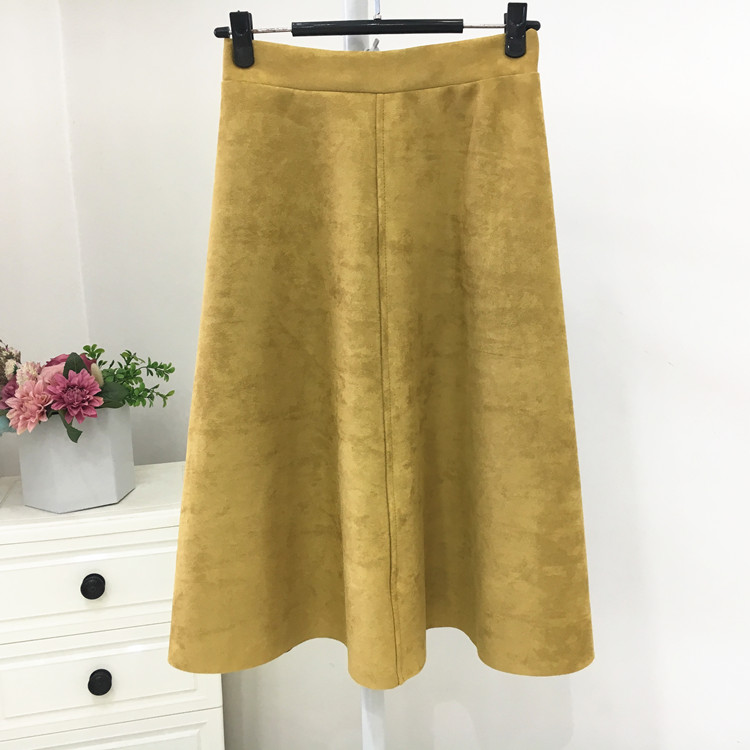 Ha66da963c42a44c18f5b47770e55d6a6A - Neophil Women Suede High Waist Midi Skirt Summer Vintage Style Elastic Ladies A Line Black Green Flare Fashion Skirt  S29A4