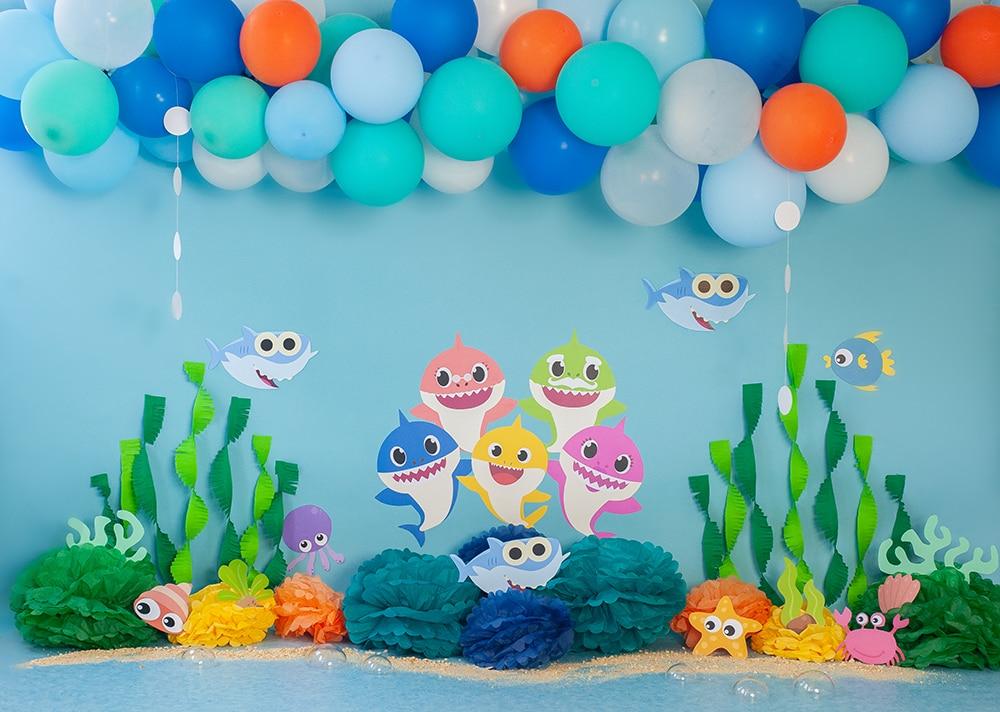 Aniversário balões fundo tubarão 1st festa de aniversário decoração fotografia foto atirar suprimentos W-3921